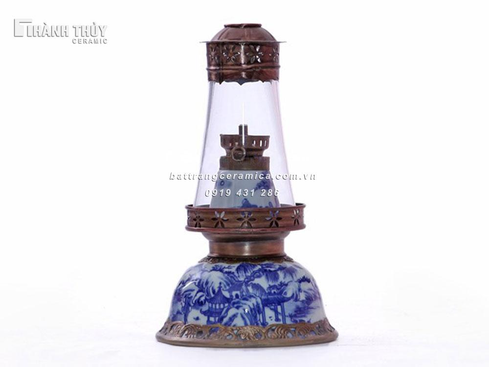 Đèn dầu thờ  men lam cổ - cao 21cm (1)