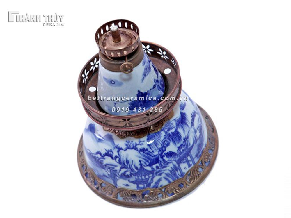 Đèn dầu thờ  men lam cổ - cao 21cm (2)