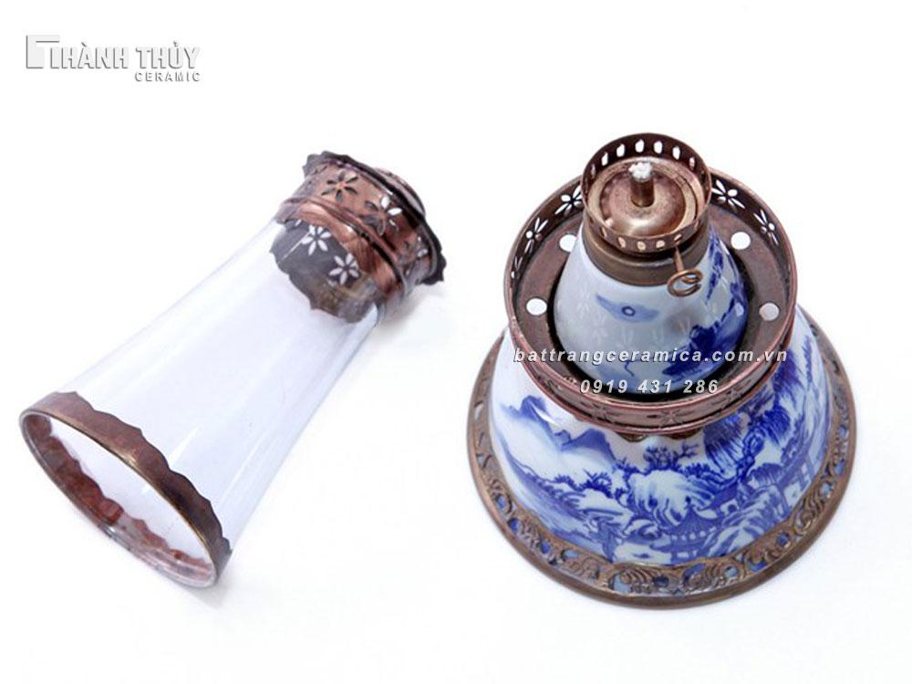 Đèn dầu thờ  men lam cổ - cao 21cm (3)