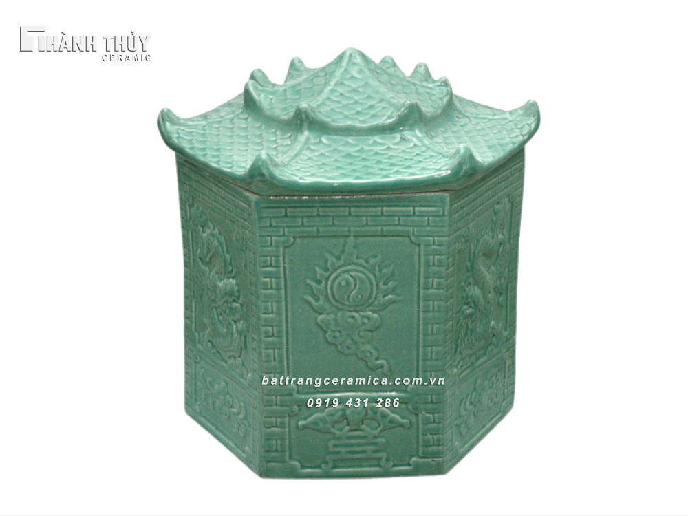Bình tro sứ mái chùa men xanh ngọc