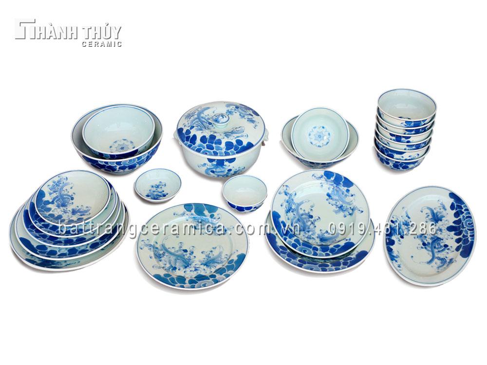 Bộ đồ ăn vẽ Sen men Lam cổ