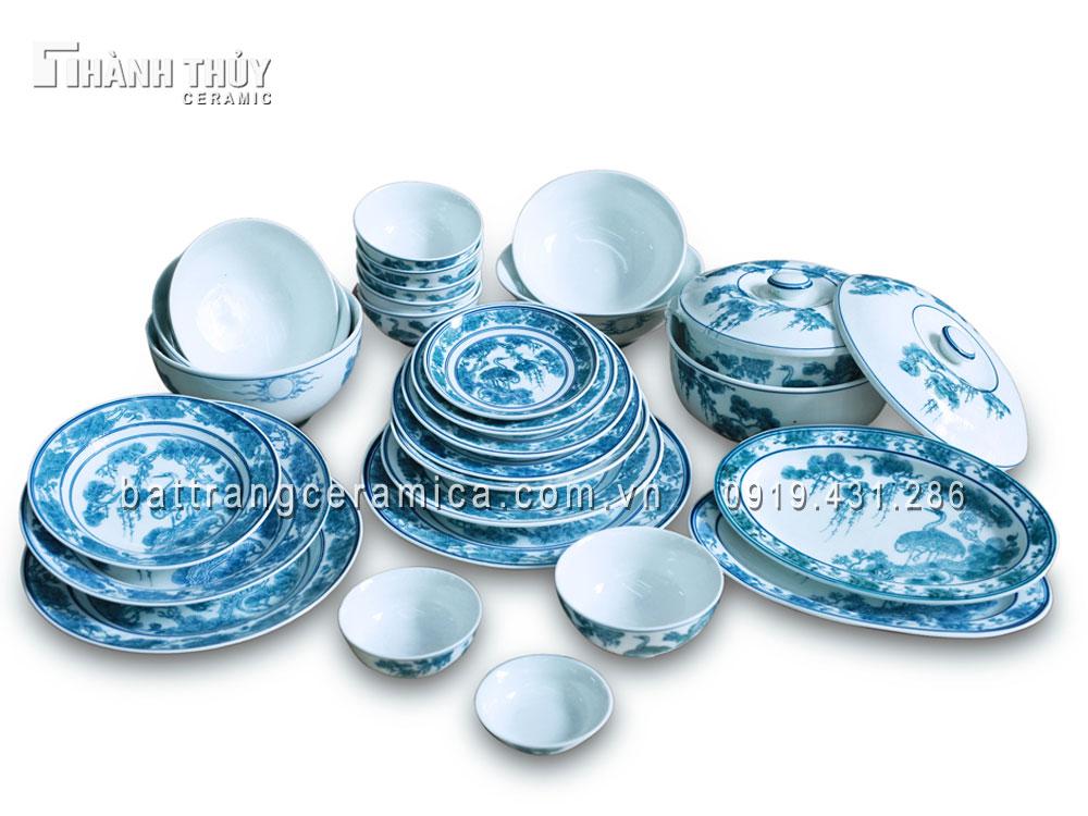 Bộ đồ ăn  vẽ Tùng Hạc
