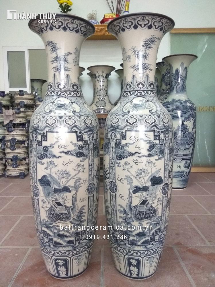 Lộc bình Bát Tràng vẽ Tứ Linh men rạn 1,6m