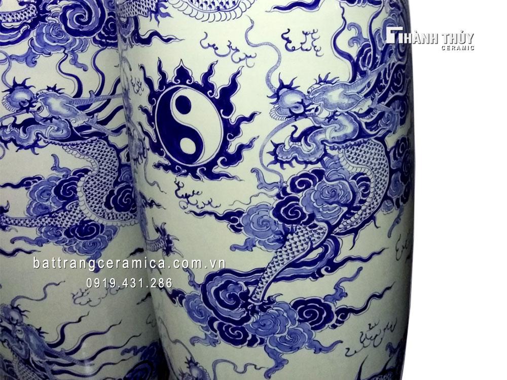 Lục bình Bát Tràng vẽ ngũ long chầu nguyệt 1m4 (3)