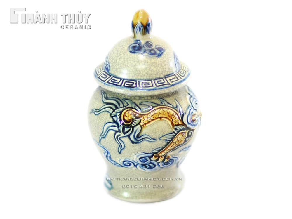 Chóe mini Rồng nổi số 4 - men rạn cổ