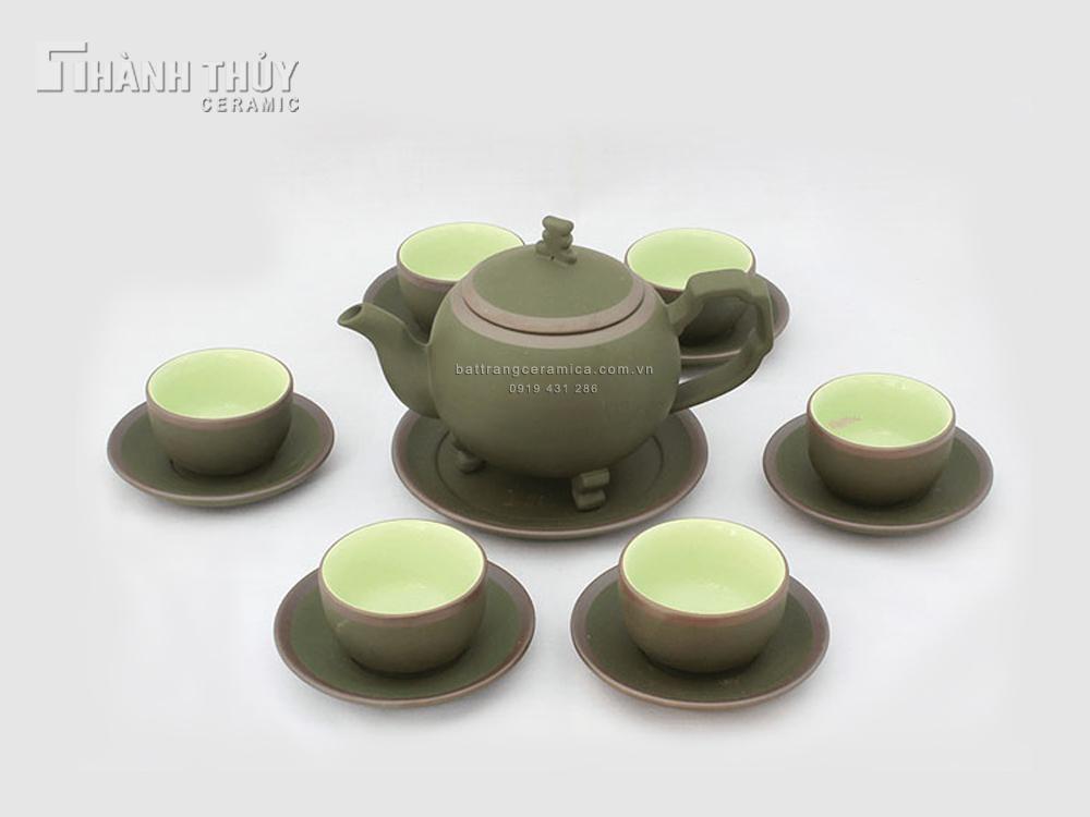 Ấm trà tử sa Bát Tràng Cây Thông xanh