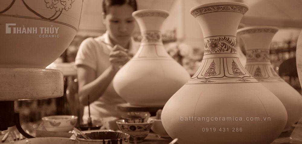 Gốm Bát Trang - Nghệ nhân vẽ