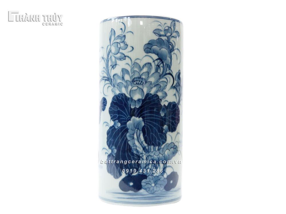Ống cắm hương vẽ Sen - cao 21cm