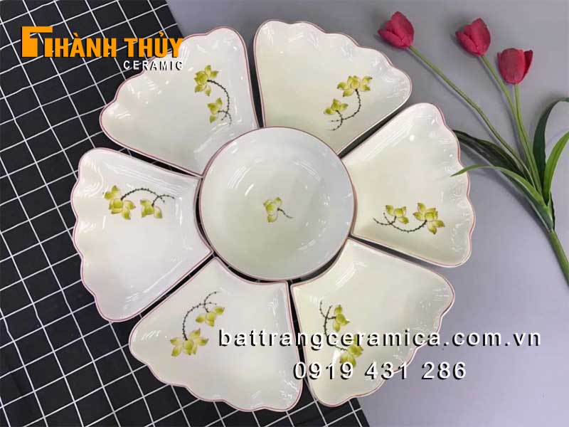 Set đĩa bày mâm cỗ hoa mặt trời men kem