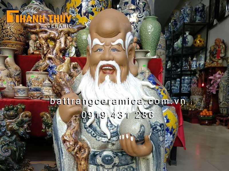 Tượng Phúc Lộc Thọ gốm sứ cao cấp 60 cm