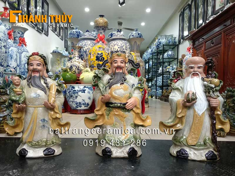 Tượng Phúc Lộc Thọ men rạn cổ cao 52 cm