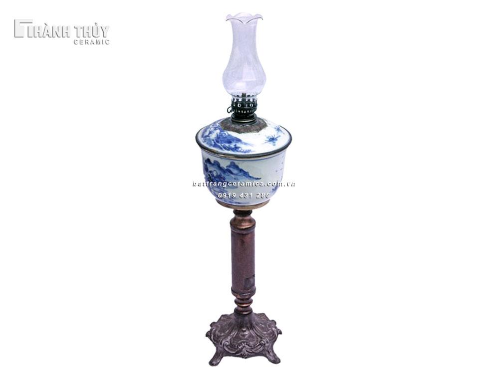 Đèn dầu vẽ sơn thủy men Lam - Cao 49cm (2)
