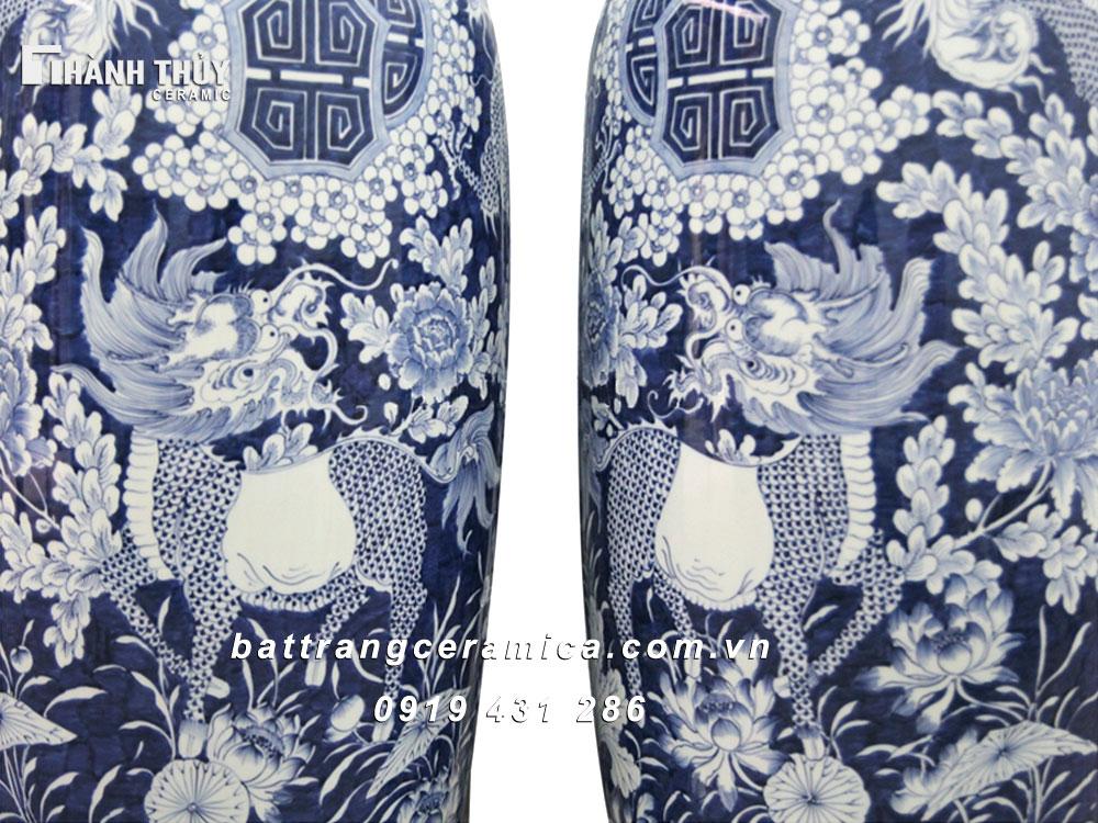 Lọ lộc bình vẽ Tứ Linh - cao 120cm (1)