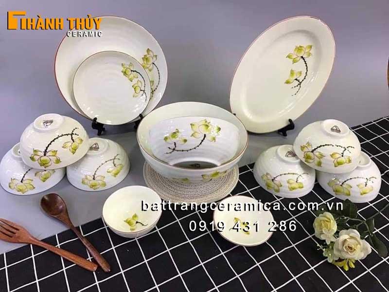 Bát đĩa men Kem vẽ hoa Sen 13 món