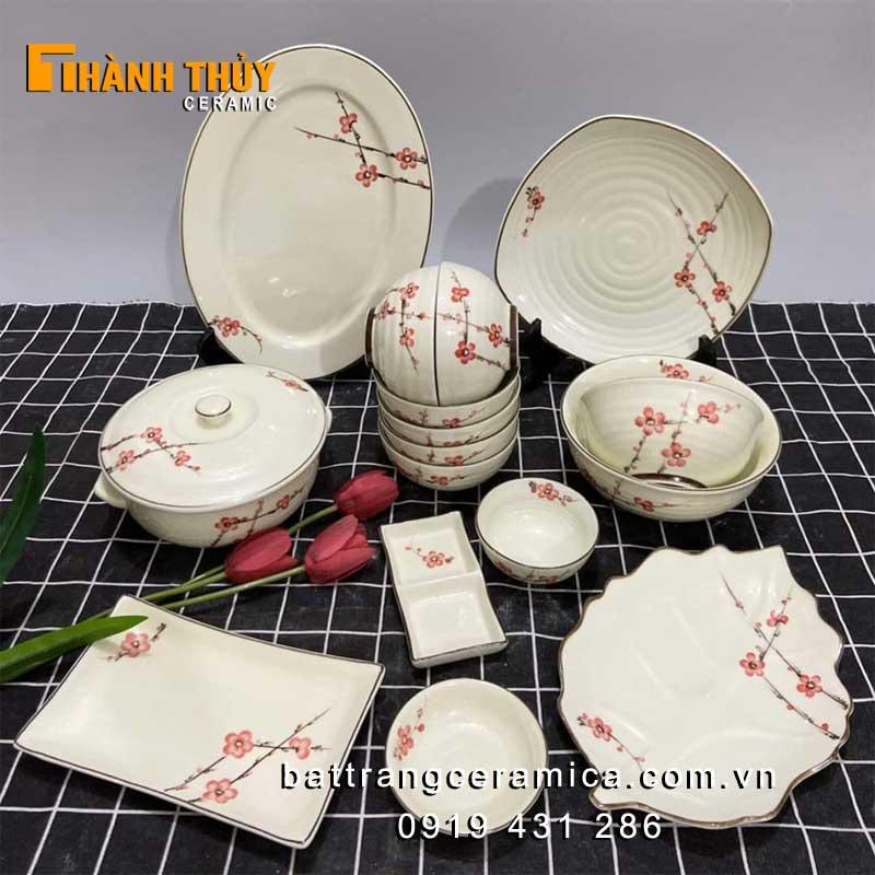 Bộ bát đĩa hoa đào men kem set 16 món