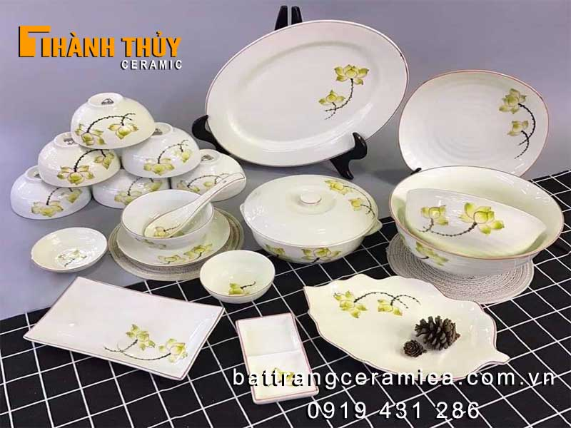Bộ bát đĩa hoa sen vàng men kem 19 món