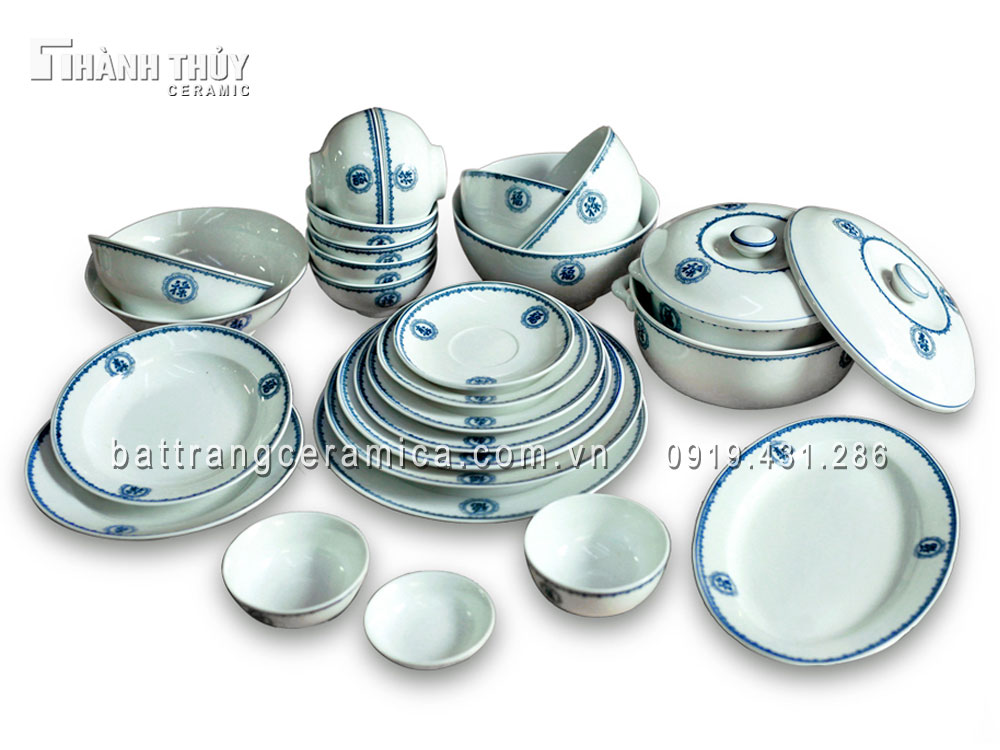 Bộ đồ ăn vẽ Phúc Lộc Thọ men Ngọc