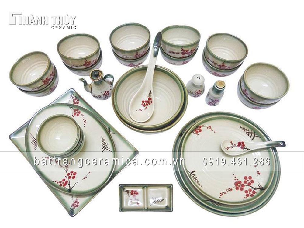 Bộ đồ ăn vẽ hoa Đào - set 28 món