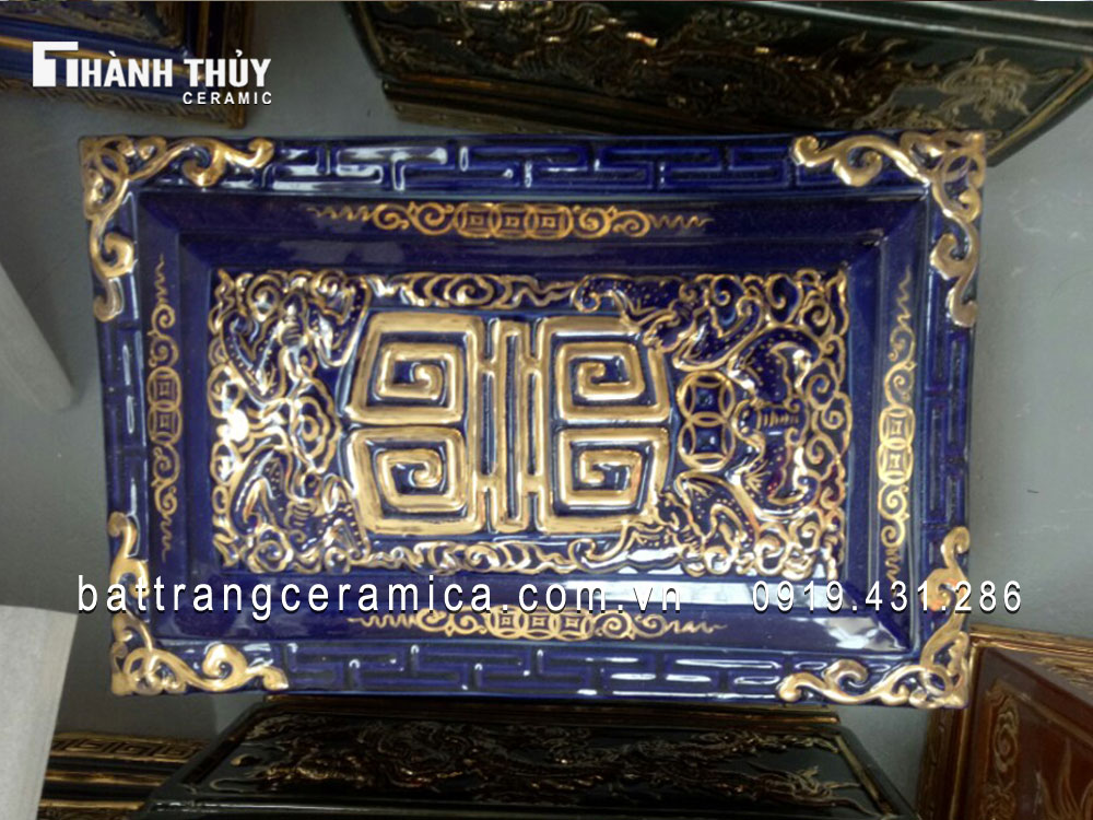 Quách tiểu sứ Rồng nổi vàng kim men Lam cổ