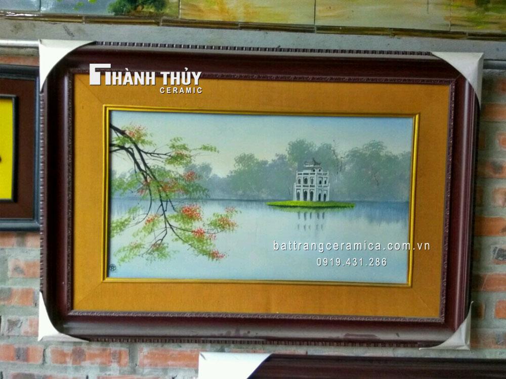 Tranh sứ tháp Rùa hồ Gươm