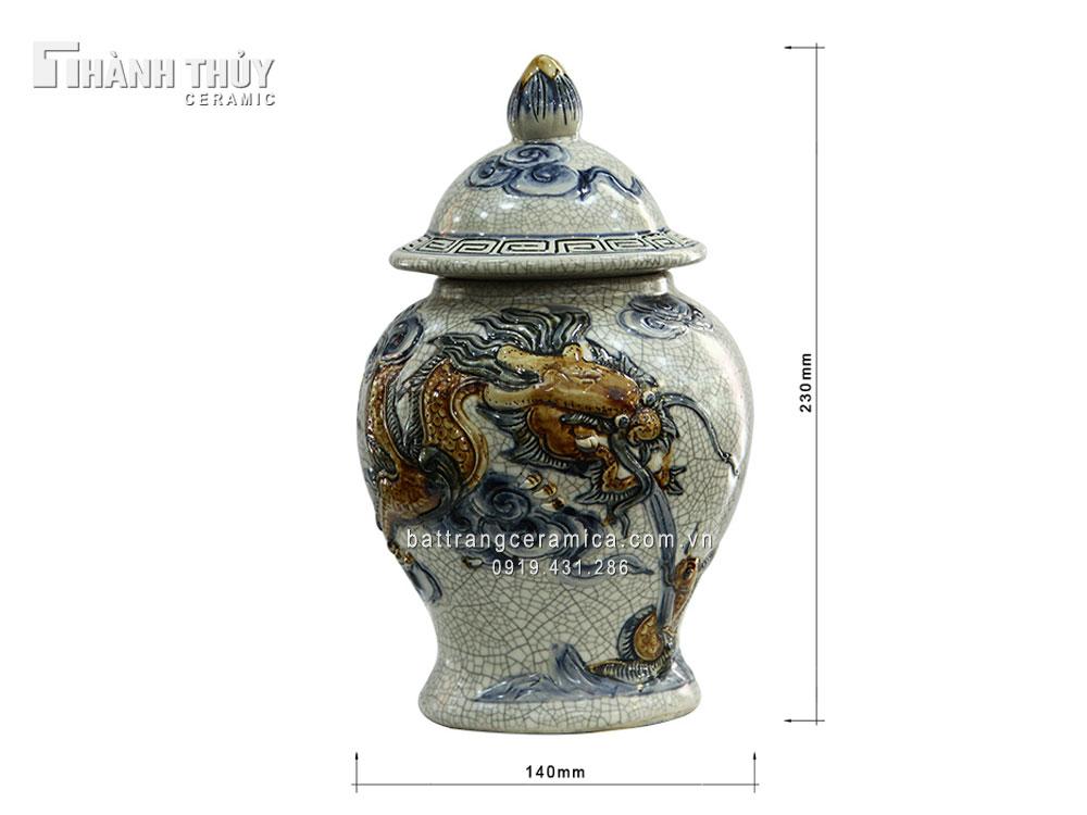 Chóe thờ men rạn rồng nổi - cao 23cm