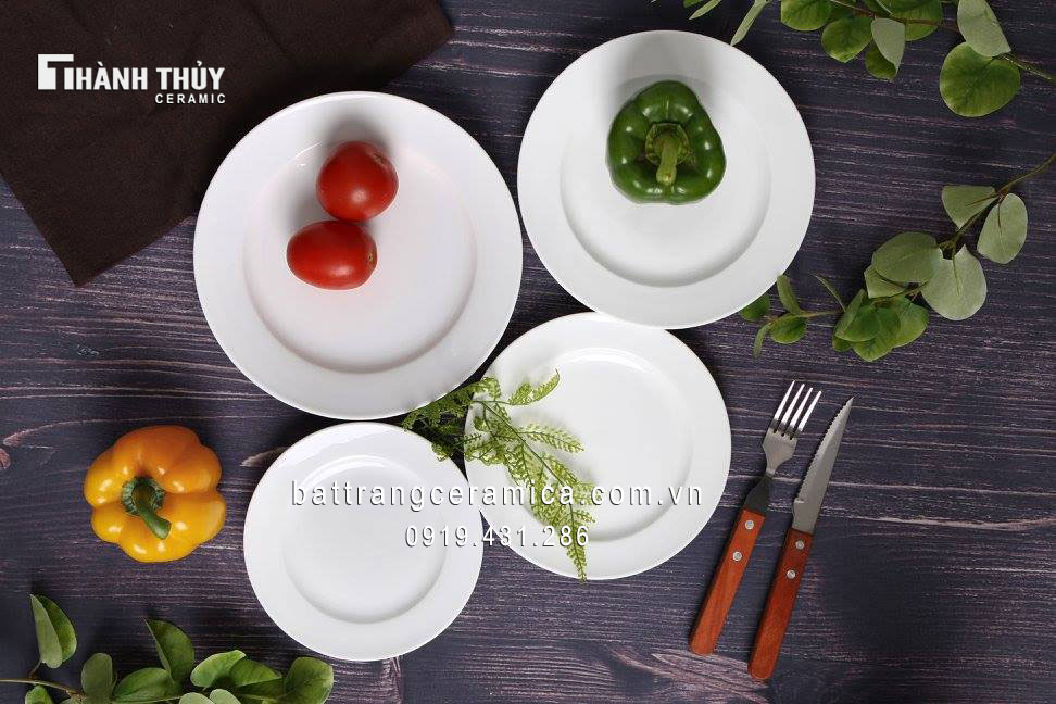 Đĩa salat sứ trắng Bát Tràng