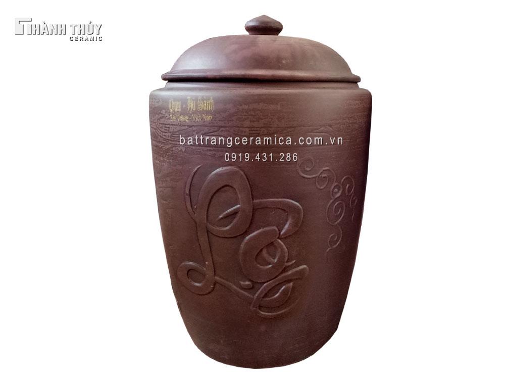 Hũ gạo Bát Tràng tài lộc chữ nổi20 kg