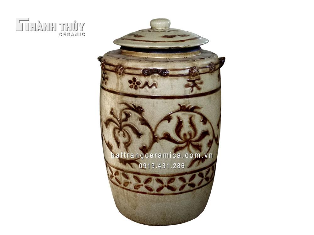 Hũ đựng gạo Bát Tràng men rạn cổ 6 kg