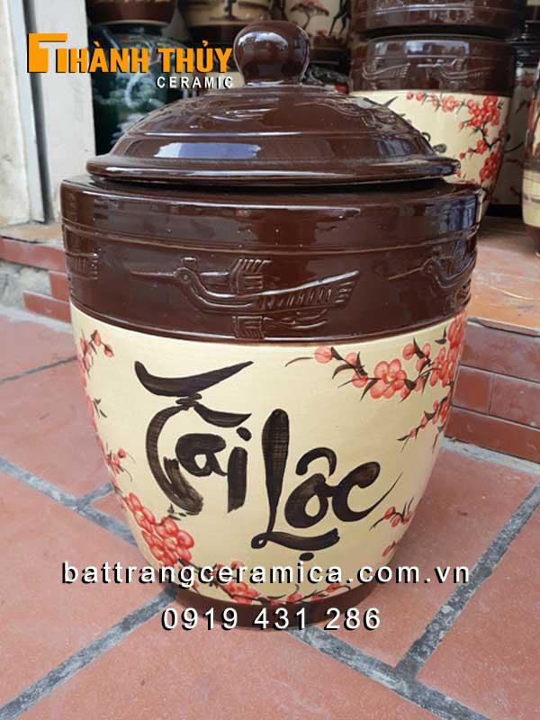Hũ gạo gốm sứ vẽ hoa Đào 30 kg