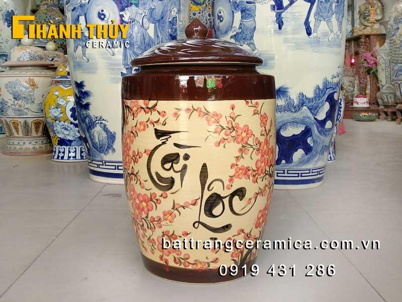 Hũ đựng gạo Bát Tràng vẽ hoa Đào 20 kg