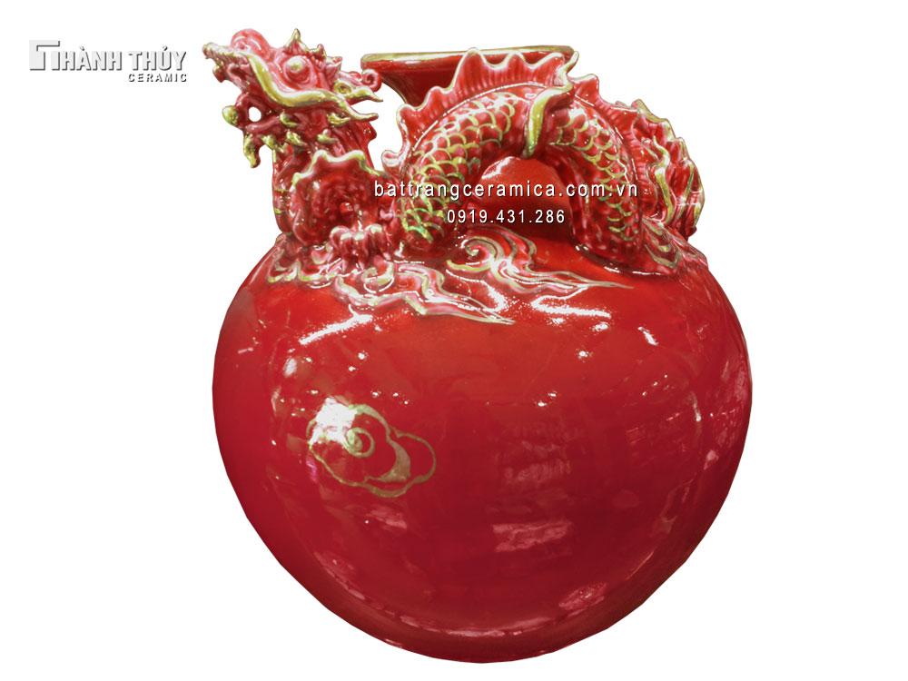 Bình tài lộc rồng đỏ ruby cao 35 cm