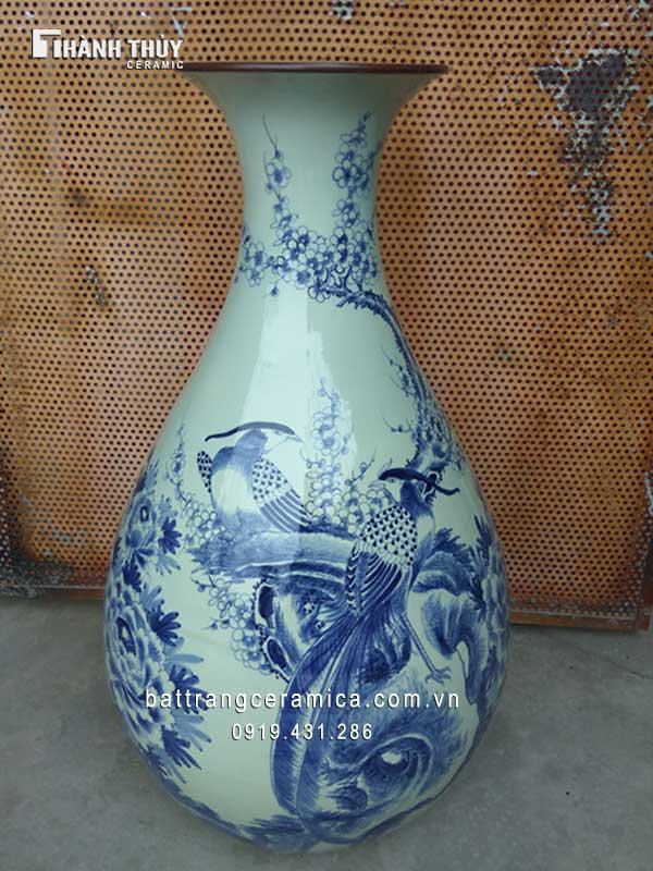Tỳ bà chim trĩ hoa đào men Lam 75 cm