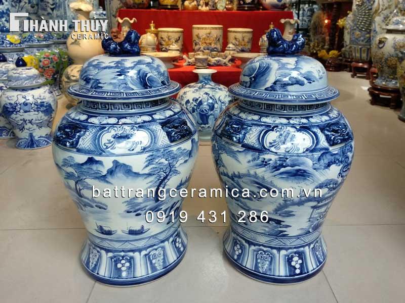 Chóe sơn thủy men Lam 30 lít