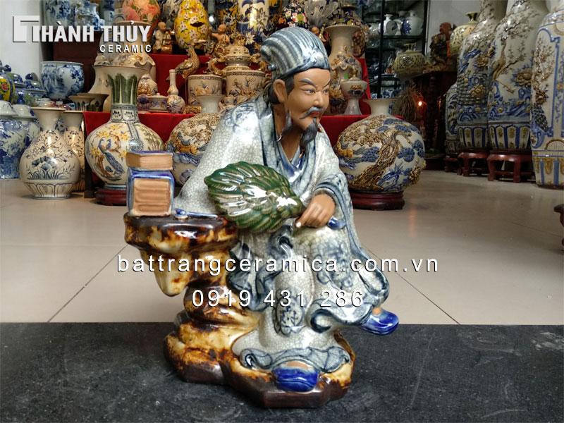 Tượng sứ Khổng Minh men rạn cao 40 cm