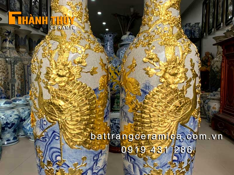 Lộc bình dát vàng chim Công hoa Đào cao 1m4