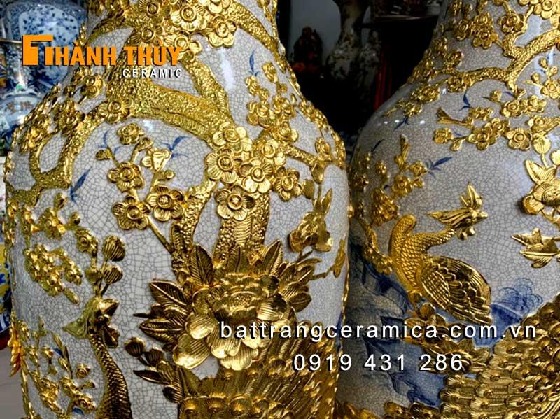 Lục bình dát vàng hoạ tiết Công Đào cao 1m6