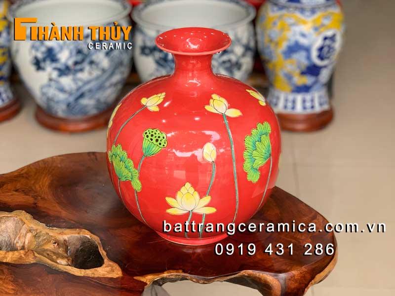 Bình hút tài lộc màu đỏ hoa Sen cao 30cm