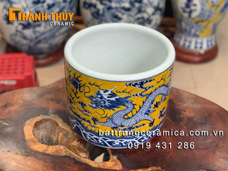 Bát hương vuốt tay màu vàng phi 20 cm