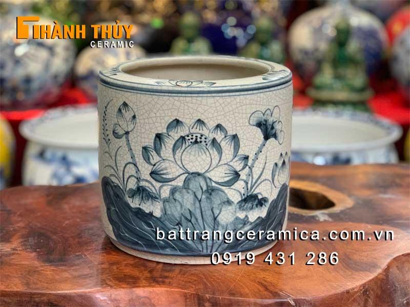 Bát hương hoa Sen men rạn phi 20 cm