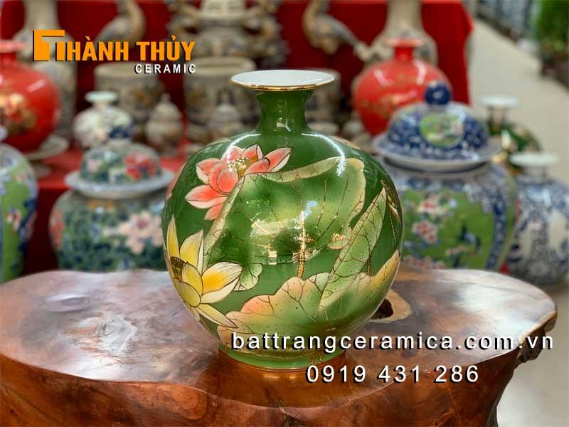 Bình hút lộc hoa Sen nền xanh vẽ vàng 30cm