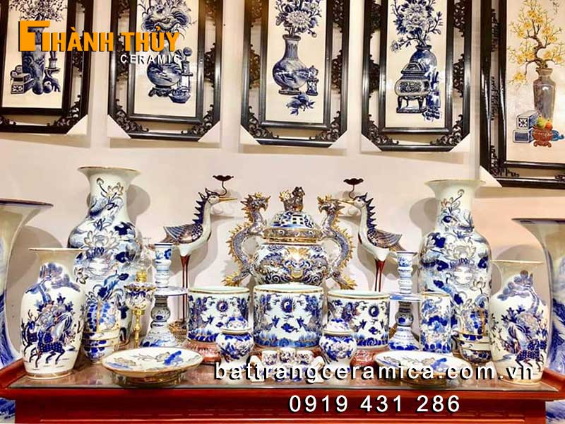 Bộ đồ thờ vẽ vàng 24K tuyệt phẩm Bát Tràng